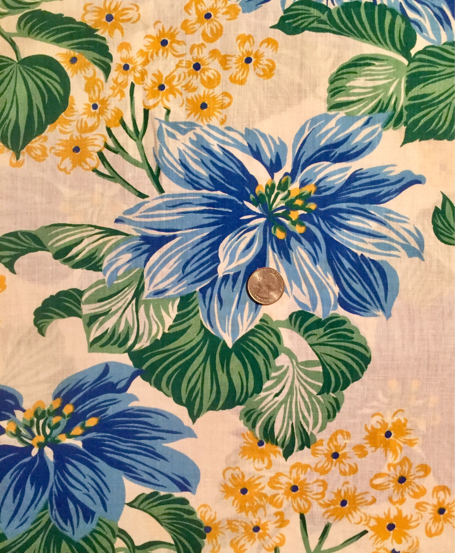 34 Yard Hawaiian Print Quilting Fabric Blue Hawaiian Fabric Etsy