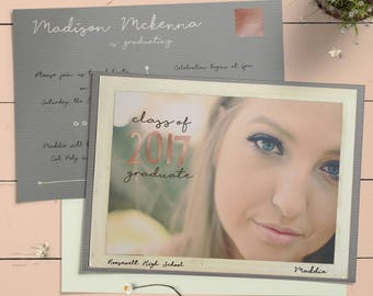 Postcard Graduation Party Invitation Announcement Customized For You Printable Or Printed Rose Gold