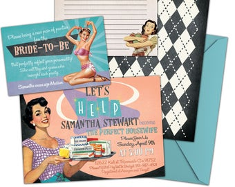 retro housewife bridal shower invitation suite printable or printed with envelopes vintage 1950s fifites