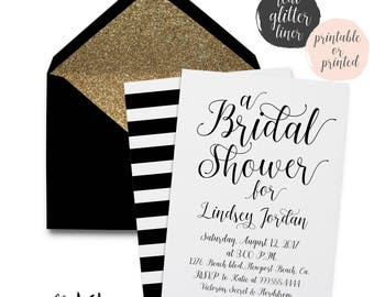 classic bridal shower invitation customized for you diy printable or printed blush pink gold black sparkle glitter