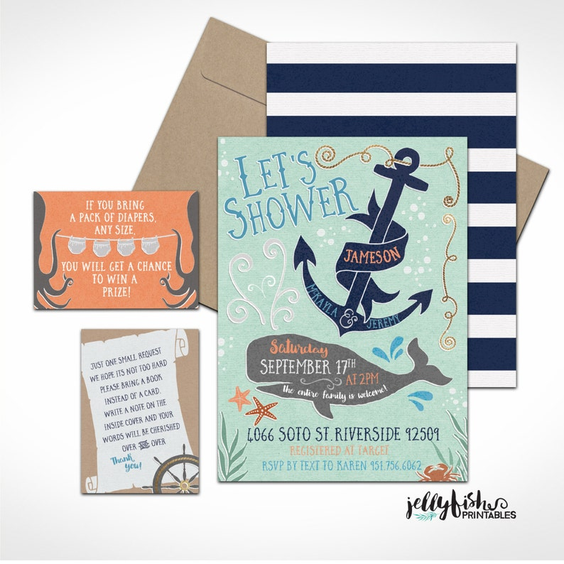Ocean Nautical Themed Baby Shower Invitation Suite for Couples image 0