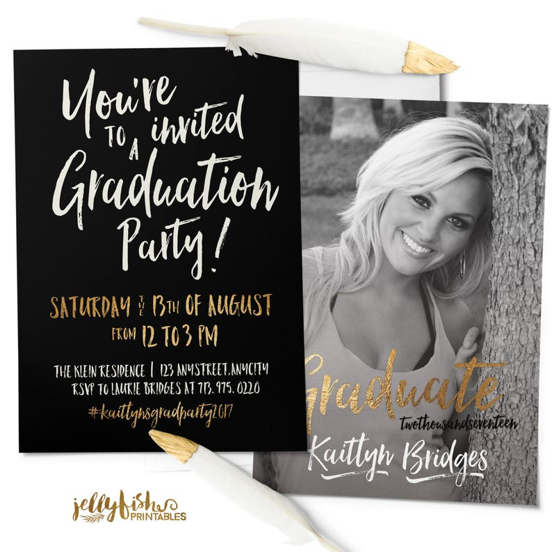 Black Gold Photo Graduation Invitation  Graduation Party image 0