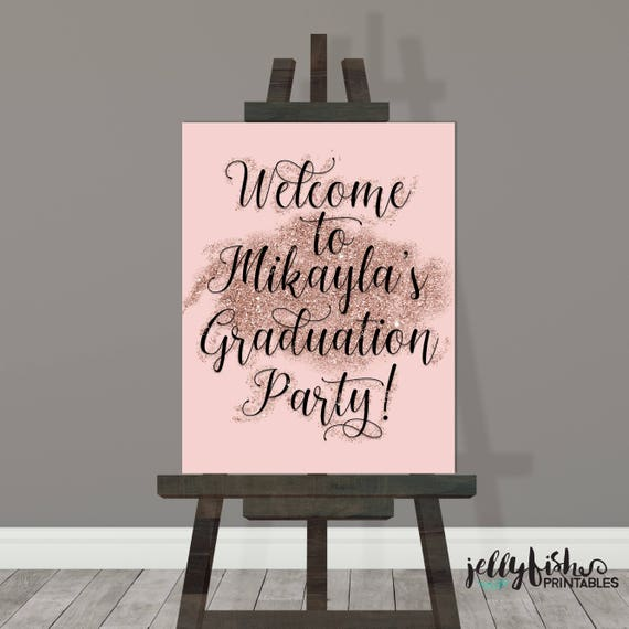 Pink Black Graduation Party Sign Graduation Party Etsy