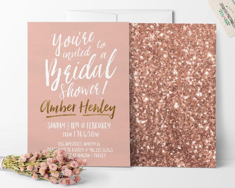 Rose Gold Bridal Shower Invitation  Customized for You DIY image 0