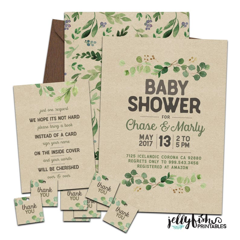 Greenery Baby Shower Invitation Suite for Couples or image 0