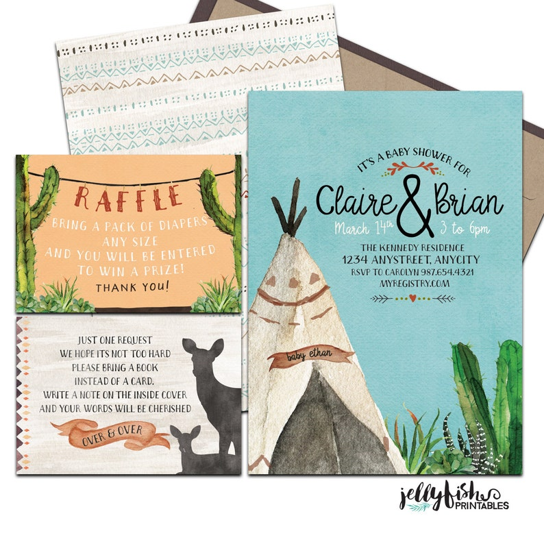Tribal Boy Baby Shower Invitation Suite for Couples or Single. image 0
