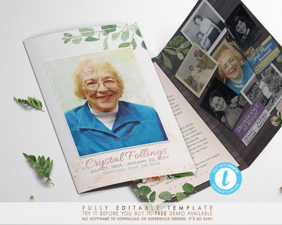 rustic funeral program template personalize it yourself free etsy
