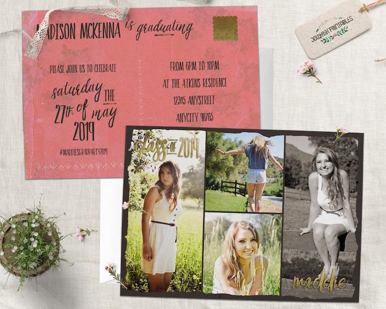 Vintage Postcard Photo Graduation Invitation Graduation Party image 0
