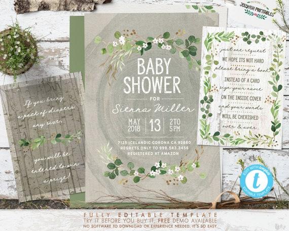 Woodland Baby Shower Invitation Templates Greenery Wood Etsy