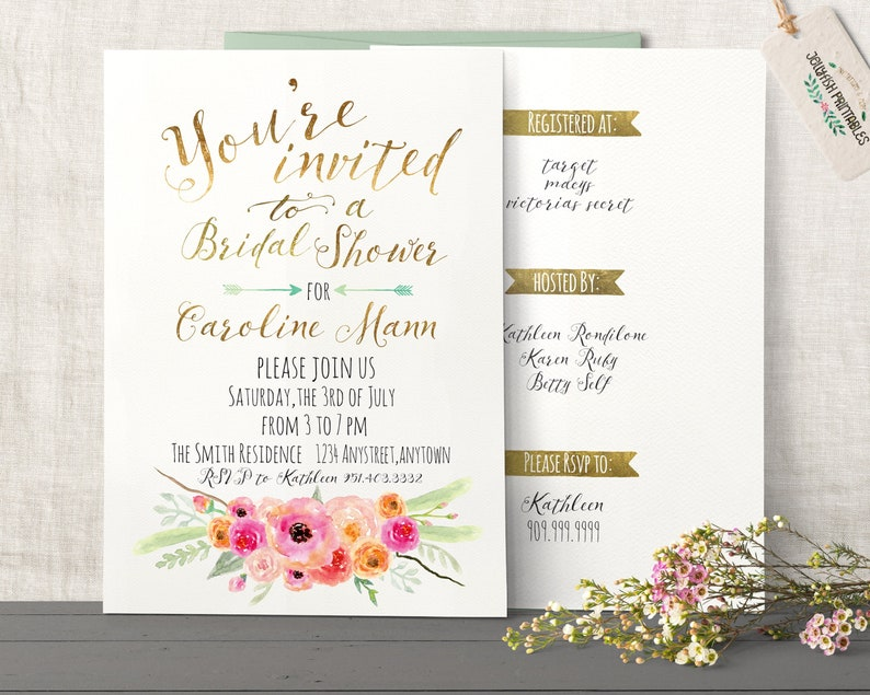 Rustic Boho Bridal Shower Invitation  Customized for you 5x7 image 0