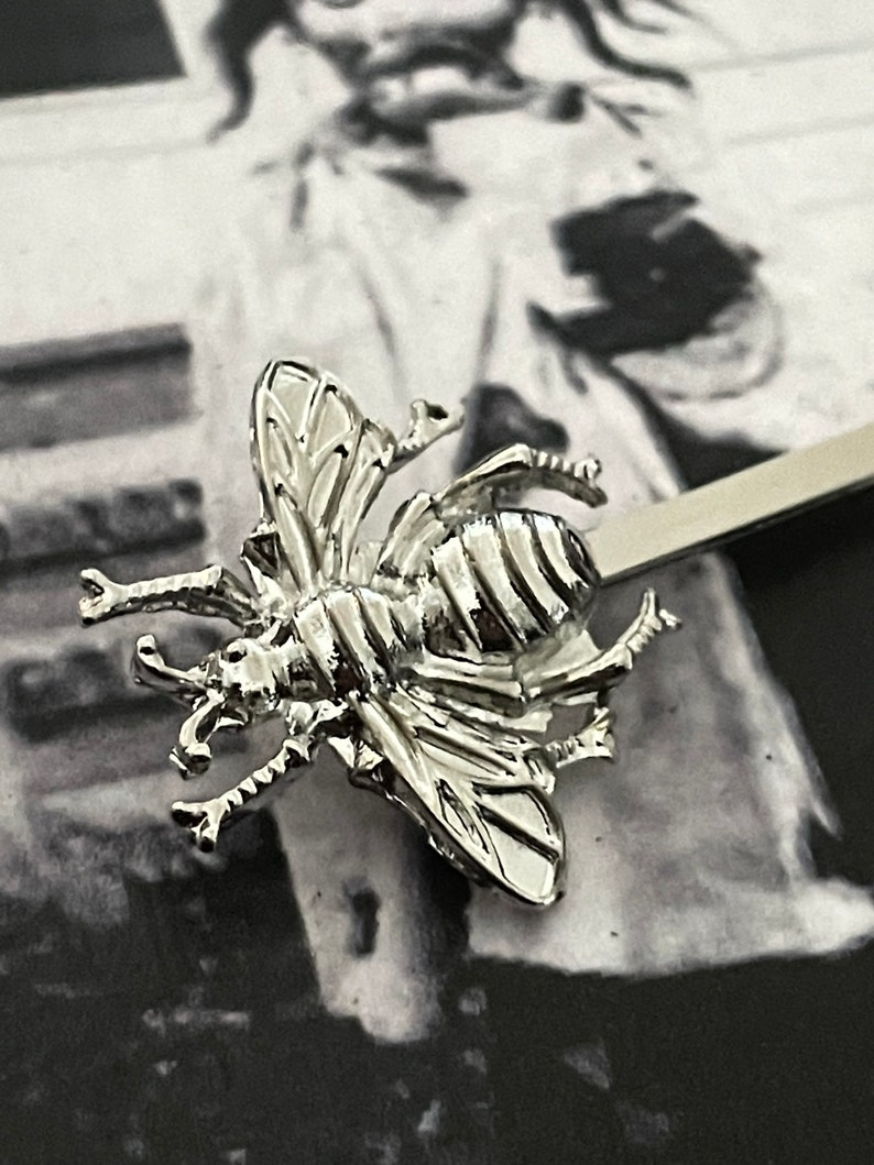 2 Wasp Hair Pins Platinum Bumble Bee Jewelry