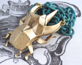 Golden Scarab Necklace Chunky Chain