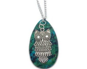 Dyed Zebra Jasper Necklace, Owl Necklace, Owl Jewelry, Jasper Jewelry, Gemstone Necklace, Gemstone Jewelry, Blue Jasper, Green Jasper