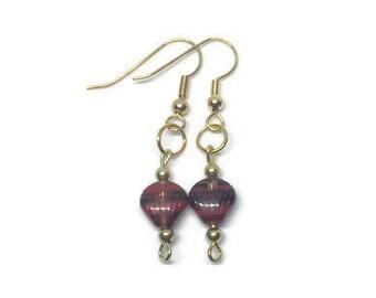 Red and Black Glass Shell Earrings, Glass Shell Earrings, Gold Plated Earrings, Recycled Earrings, Beach Earrings, Summer Earrings
