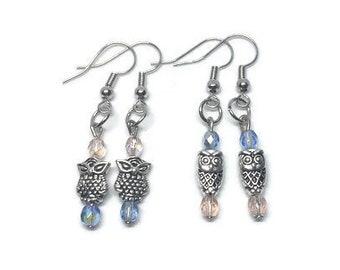 Dainty Owl Earrings, Owl Jewelry, Silver Owl Earrings, Blue and Pink Earrings, Dainty Earrings, Dainty Jewelry, Girl's Earrings
