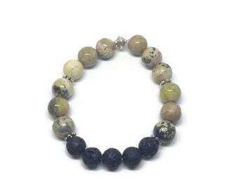 Chinese Jasper Diffuser Bracelet, Yellow Turquoise Diffuser, Essential Oil Diffuser Bracelet, Diffuser Bracelet, Diffuser Jewelry
