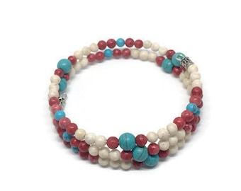 Turquoise and Howlite Beaded Bracelet, Memory Wire Bracelet, Southwestern Style Bracelet, Summer Bracelet, Gemstone Bracelet, Beach Jewelry