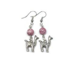 Silver Plated Llama Earrings, Pink Glass Bead Earrings, Llama Earrings, Llama Jewelry, Alpaca Earrings, Alpaca Jewelry, Boho Earrings