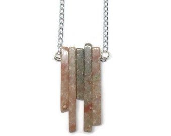 Chinese Unakite Necklace, Unakite Jewelry, Gemstone Jewelry, Gemstone Necklace, Boho Necklace, Boho Jewelry, Recycled Necklace