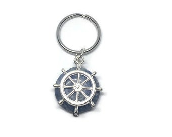 Blue Coral Keychain, Nautical Keychain, Ship Wheel Keychain, Father's Day Gift, Father's Day Keychain, Summer Keychain, Beach Keychain
