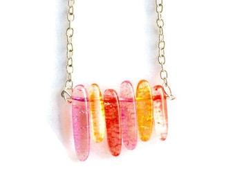 Crackle Quartz Necklace, Pink Crackle Quartz, Yellow Crackle Quartz, Red Crackle Quartz, Gemstone Necklace, Gemstone Jewelry