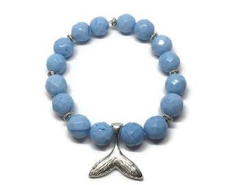 Silver Plated Whale Tail Bracelet, Whale Bracelet, Blue Glass Bead Bracelet, Beach Bracelet, Summer Bracelet, Whale Jewelry, Beach Jewelry