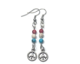 Peace Sign Earrings, Red White and Blue Earrings, Beach Earrings, Summer Earrings, Patriotic Earrings, Howlite Earrings, Gemstone Earrings