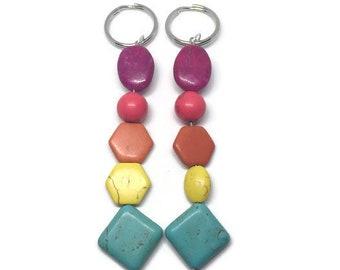 Rainbow Howlite Keychain, Rainbow Keychain, Rainbow Keyring, Howlite Keychain, Gemstone Keychain, Gemstone Keyring, Howlite Keyring