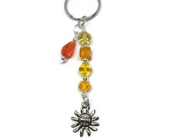 Orange and Yellow Glass Bead Sun Charm Keychain, Sun Keychain, Summer Keychain, Summer Accessory, Purse Charm, Bag Charm, Fashion Keychain