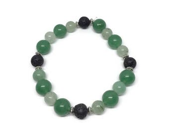 Jade and Aventurine Essential Oil Diffuser Bracelet, Green Gemstone Diffuser Bracelet, Oil Diffuser Bracelet, Aromatherapy Bracelet