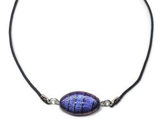 Purple Dichroic Glass Choker, Dichroic Glass Necklace, Dichroic Glass Jewelry, Purple Jewelry, Purple Choker, Glitter Necklace