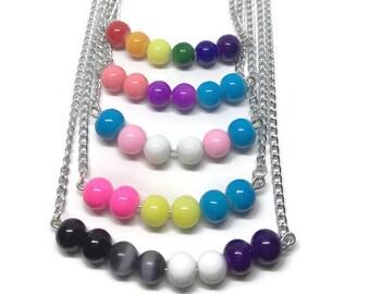 Gay Pride Necklace, Lesbian Pride Necklace, Trans Pride Necklace, Bi Pride Necklace, Ace Pride Necklace, Pan Pride Necklace, Pride Jewelry