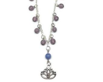 Lotus Flower Necklace, Boho Necklace, Zen Necklace, Purple Bead Necklace, Lotus Flower Jewelry, Recycled Necklace, Recycled Jewelry