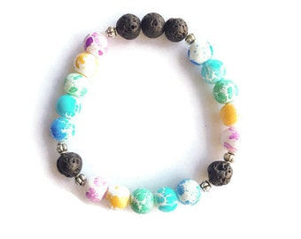 Pastel Paint Splatter Glass Bead Bracelet, Essential Oil Diffuser Bracelet, Lava Rock Bead Stretch Bracelet, Essential Oil Diffuser Jewelry