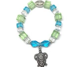 Glass Beaded Turtle Bracelet, Turtle Jewelry, Blue and Green Bracelet, Geometric Bracelet, Spring Bracelet, Turtle Lover's Bracelet