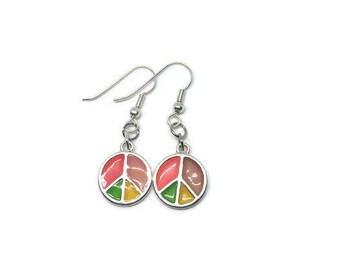 Peace Sign Earrings, Peace Sign Jewelry, Rainbow Peace Sign Earrings, Hippie Earrings, Hippie Jewelry, Colorful Jewelry, Colorful Earrings