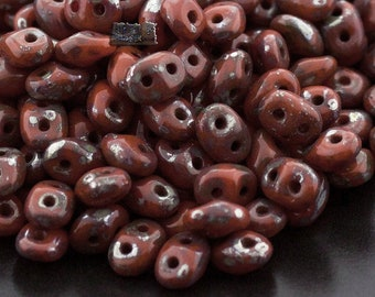 pack of 40 Brown Fossil Look Disc Czech Pressed Glass Beads
