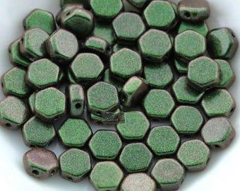 60 pcs - Czech Glass HoneyComb beads - 2-hole Honeycombs - MOTLEY SAGE & CITRUS - Polychrome - 6mm [B-70]