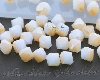 6mm Sea Glass Finish Accent Beads 6 mm Matte Bi-Cone Beads Crystal White w Frosted 25 Pieces Spacer Beads Bicone Beads