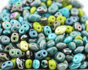 20g RARE FINISH Jet Polychrome SUPERDUO Czech Glass Seed Beads Two Hole Super Du
