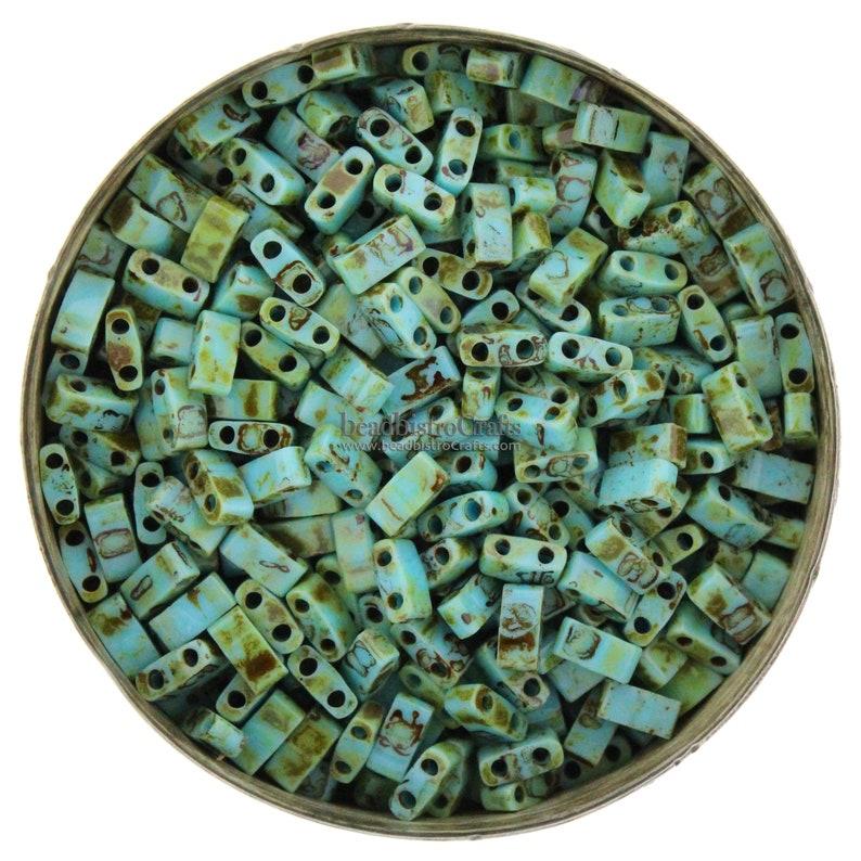 10g MIYUKI  1/2 Tila Beads  Opaque Turquoise PICASSO  size image 0