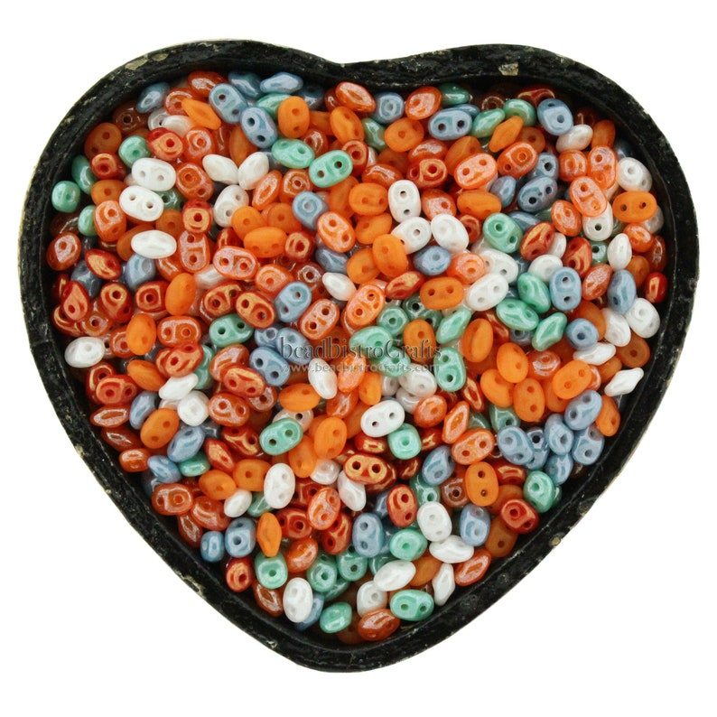 20g Czech SuperDuo 2 hole beads  Ocean MIST & ORANGE PEEL Mix image 0