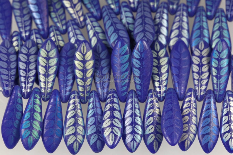 25pcs Czech Glass LASER Etched Dagger beads  Royal Blue image 0
