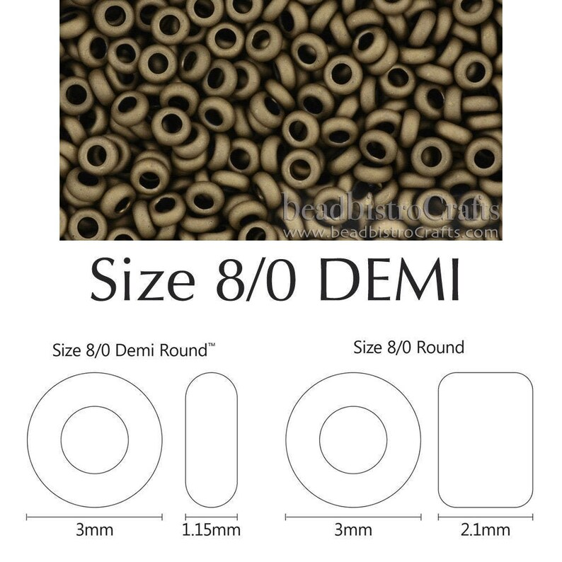 DEMI Rounds 8/0 Toho seed beads  FROSTED BRONZE  size 8 5g image 0