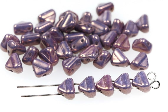 Czech Pressed Glass Beads in the form of dagger Amethyst Opal 50pcs Dagger Small Beads Violet Opal 3x10mm