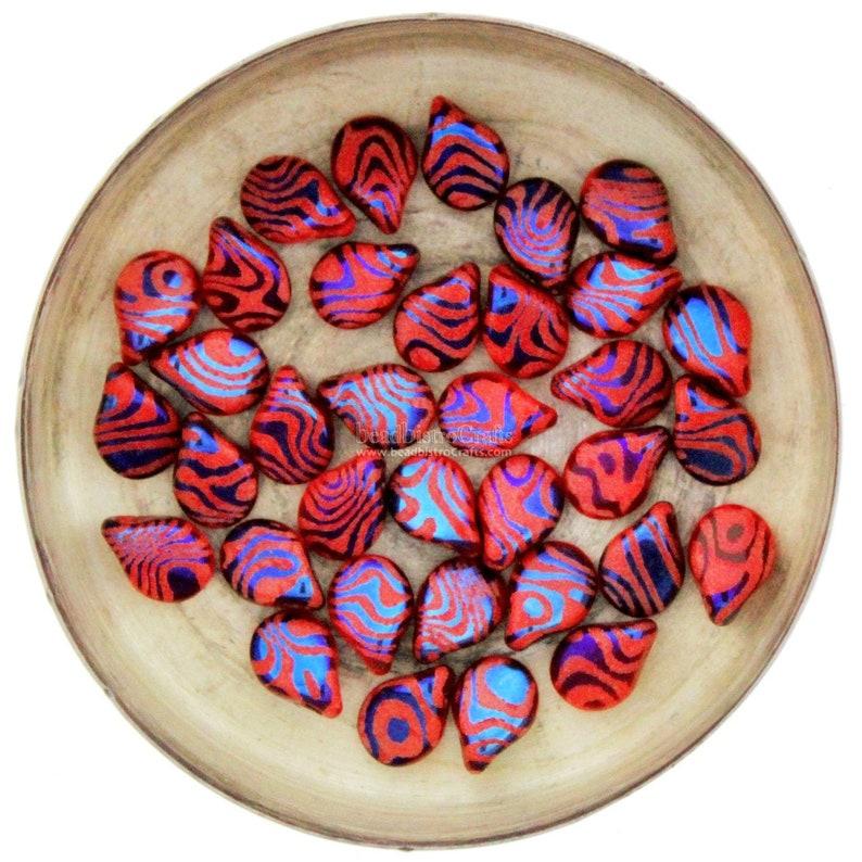 LASER Tattoo Pip Beads  35pcs Czech Glass Red AZURO Wood image 0