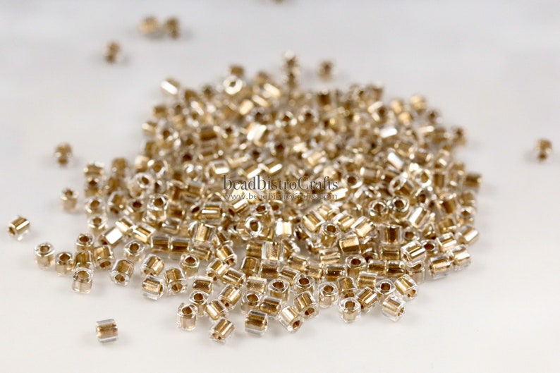 approx. 26g  1.5mm Cube  TOHO Seed Beads  GOLD LINED image 0
