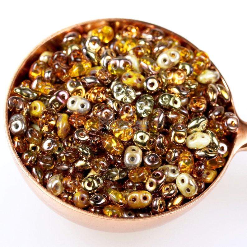 20g Czech SuperDuo 2 hole beads  HONEY OPAL & SAFFRON Mix  / image 0