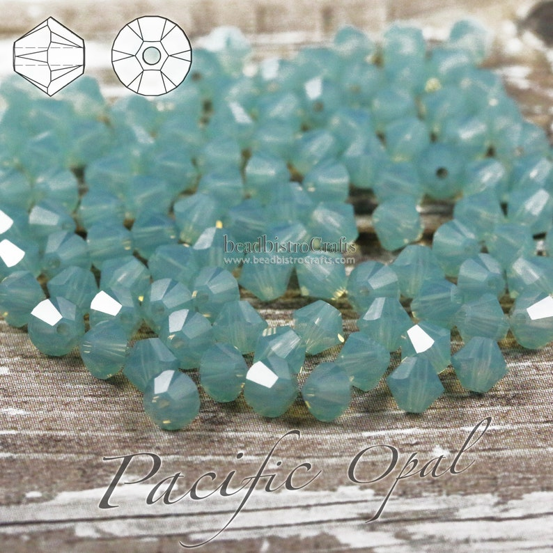 48  144pcs  3mm / 4mm  PACIFIC OPAL  facetted Bicone beads image 0