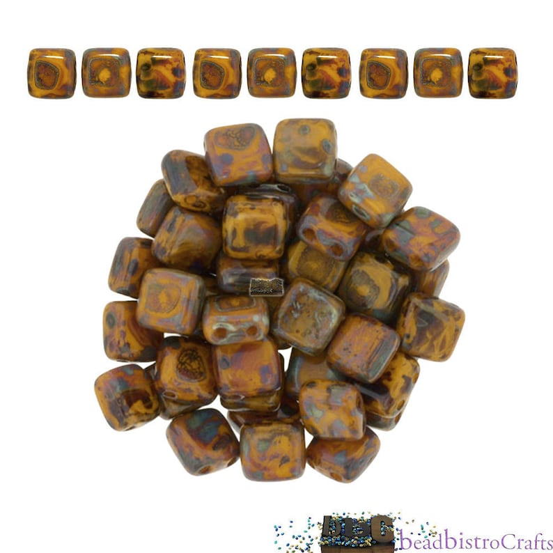 50 CzechMates Bricks Sunflower Yellow Picasso Two Hole Beads 3x6mm